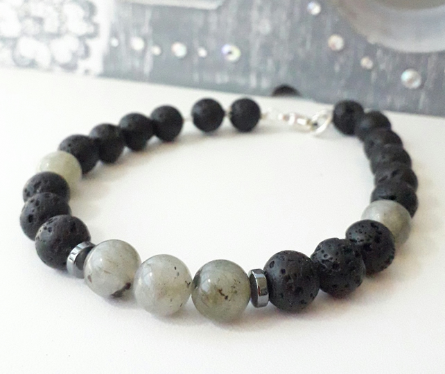 Lava Bracelet with Labradorite, Men's Gemstone Bracelet 8.2 inch Sterling Silver