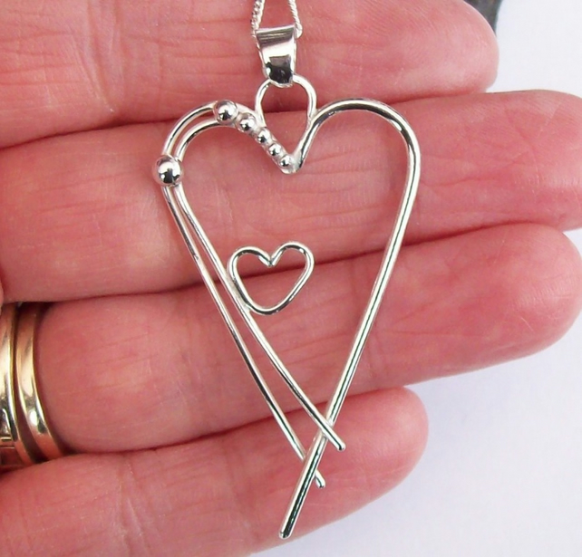 Mother child Heart necklace Sterling Silver Hallmarked