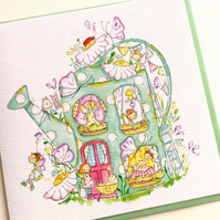 Greeting Card Fairy Watering Can