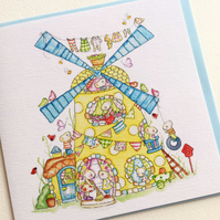 Greeting Card Pixie Mice in a Windmill