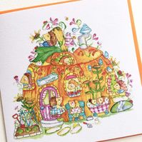 Greeting Card Pixie Pumpkin House