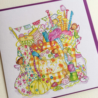 Greeting Card Sewing Fairies