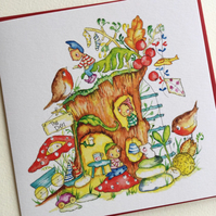 Greeting Card Pixie Tree Den