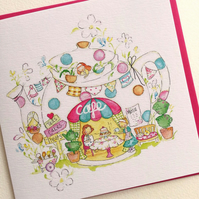 Greeting Card Pixie Teapot Cafe