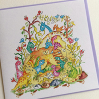 Greeting Card Pixie Dinosaurs