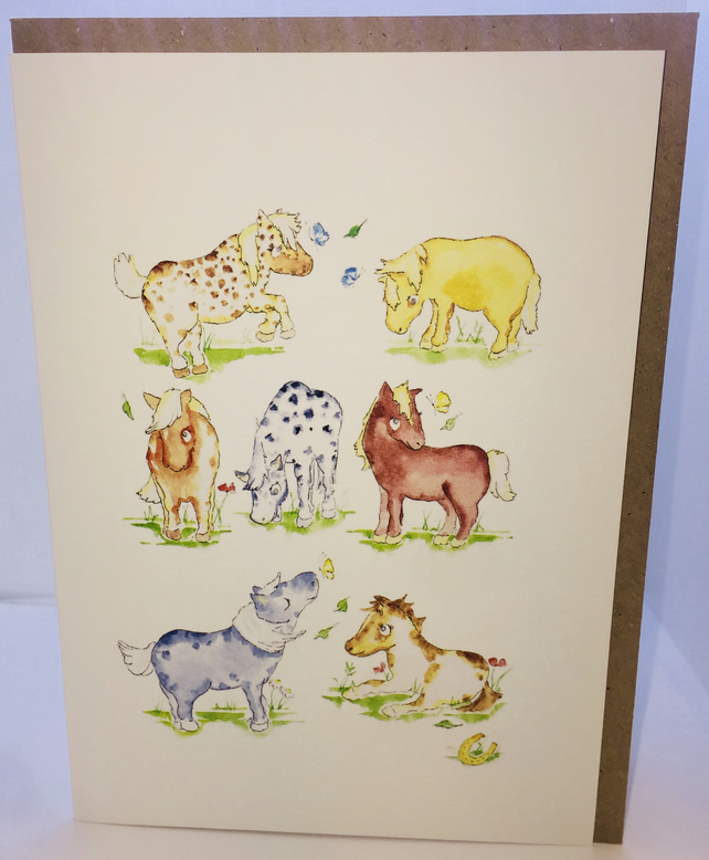 Horses and Ponies Greeting Card