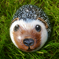 Hedgehog hand painted on rock