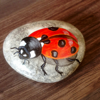 Hand painted rock ladybird