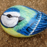 Bluetit hand painted rock bird