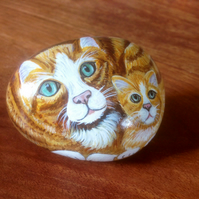 Pet portrait Ginger cat and kitten painted on rock