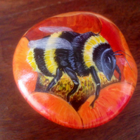 Hand painted rock bumble bee on flower garden or home decor