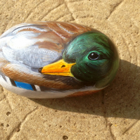 Duck and painted on stone