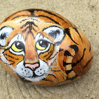 Tiger cub hand painted on rock