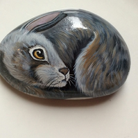 Rabbit hand painted on rock