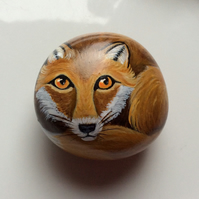 Fox hand painted on stone