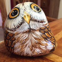 Owl hand painted on stone