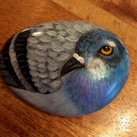 Pigeon hand painted on stone