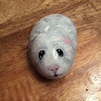 Guinea pig hand painted on stone