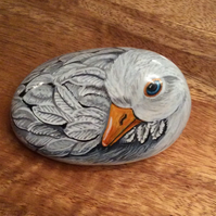 Duck hand painted on pebble