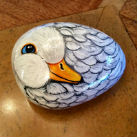 Duck hand painted on small stone cobble rock