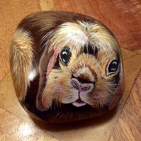 Rabbit hand painted on large stone pet portrait