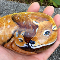 Deer hand painted pebble