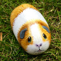 pet portrait Guinea pig painted pebble
