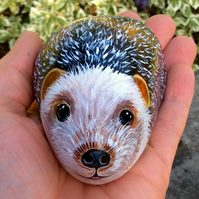 Hedgehog hand painted stone