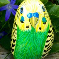 Budgie hand painted stone