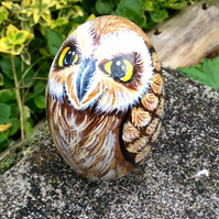 Owl hand painted pebble
