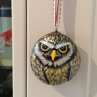 Hanging owl home decor painted pebble