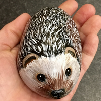 Hedgehog painted pebble rock pet art
