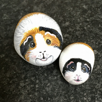 Guinea pigs hand painted pebbles rock art