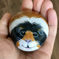 Guinea pig hand painted pebble rock art pet portrait