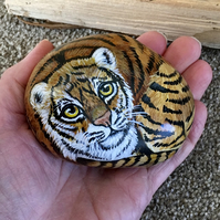 Tiger hand painted pebble rock stone wildlife art