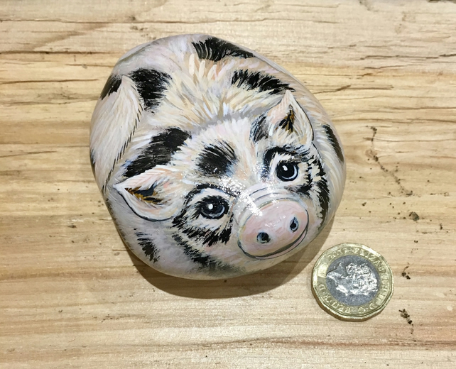 Pig hand painted pebble pet rock stone animal gift