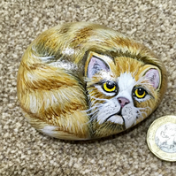 Cat painted pebble garden rock art pet Portrait