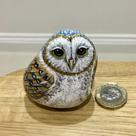 Barn Owl hand painted pebble garden rock art bird wildlife gift