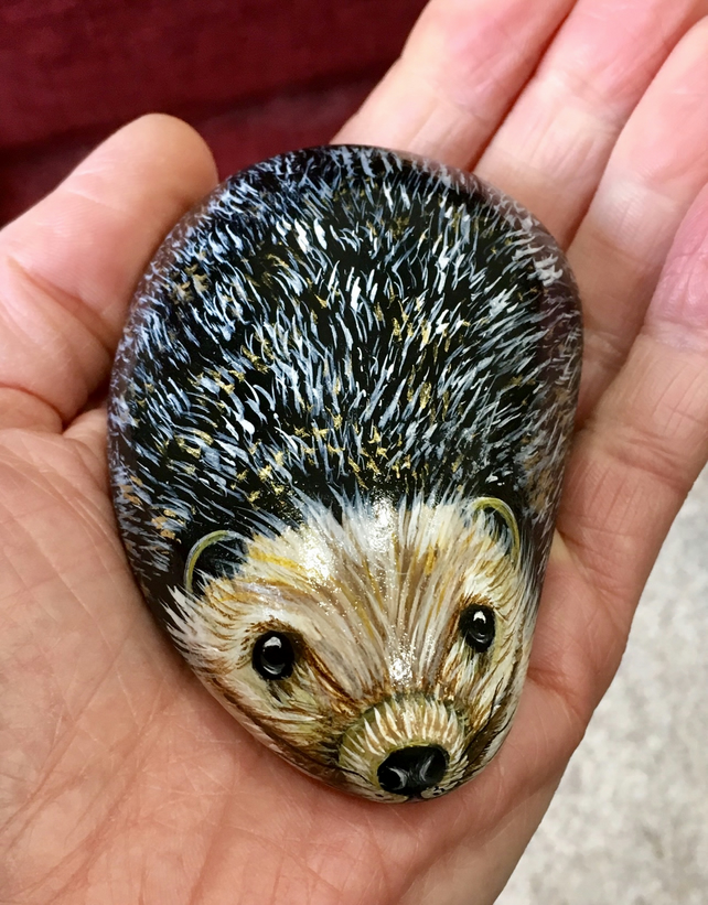 Hedgehog hand painted pebble garden rock art wildlife portrait stone gift