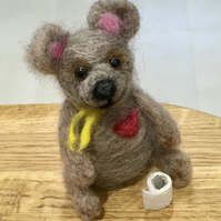 Teddy with toilet roll needlefelt sculpture