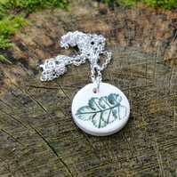 Rose Leaf Imprinted Round Ceramic Pendant & Sterling Silver Chain
