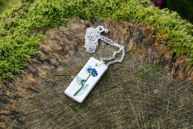 Forget-me-not Ceramic Pendant & Sterling Silver Chain Necklace