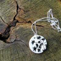 Cow Parsley Imprinted Round Ceramic Pendant & Sterling Silver Chain