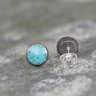 Turquoise Ceramic Stud Earrings in Black Stoneware Clay.