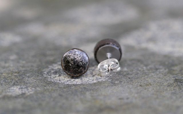 Charcoal Ceramic Stud Earrings - black clay