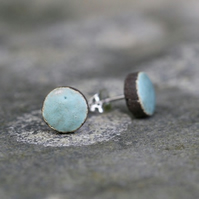 Stylish and Versatile Ceramic Stud Earrings in Verdigris on Black Clay