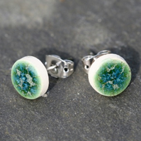 Rockpool Ceramic Stud Earrings in White Stoneware Clay.