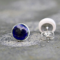 Midnight Blue Ceramic Stud Earrings in White Stoneware Clay.