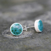 Turquoise Ceramic Stud Earrings in White Stoneware Clay.