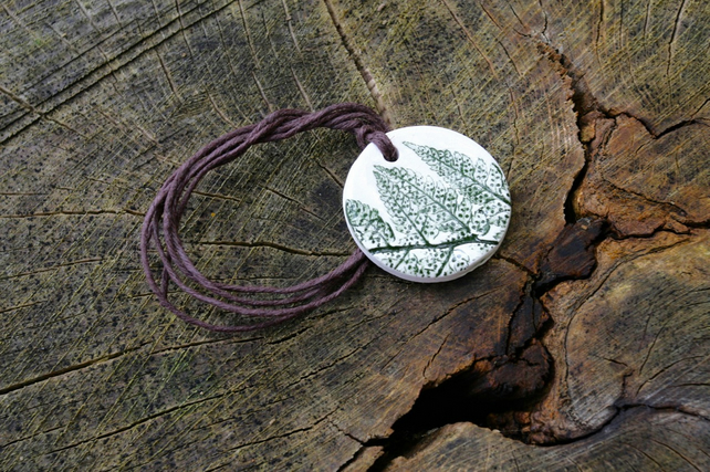 Fern Leaf Imprinted Ceramic Pendant on Hemp Cord